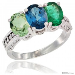 14K White Gold Natural Green Amethyst, London Blue Topaz & Emerald Ring 3-Stone 7x5 mm Oval Diamond Accent