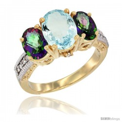 14K Yellow Gold Ladies 3-Stone Oval Natural Aquamarine Ring with Mystic Topaz Sides Diamond Accent