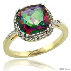 14k Yellow Gold Diamond Mystic Topaz Ring 3.05 ct Cushion Cut 9x9 mm, 1/2 in wide