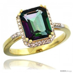 14k Yellow Gold Diamond Mystic Topaz Ring 2.53 ct Emerald Shape 9x7 mm, 1/2 in wide
