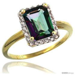 14k Yellow Gold Diamond Mystic Topaz Ring 1.6 ct Emerald Shape 8x6 mm, 1/2 in wide