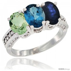 14K White Gold Natural Green Amethyst, London Blue Topaz & Blue Sapphire Ring 3-Stone 7x5 mm Oval Diamond Accent