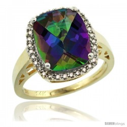 14k Yellow Gold Diamond Mystic Topaz Ring 5.17 ct Checkerboard Cut Cushion 12x10 mm, 1/2 in wide