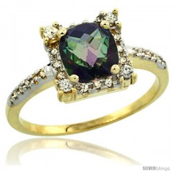 14k Yellow Gold Diamond Halo Mystic Topaz Ring 1.2 ct Checkerboard Cut Cushion 6 mm, 11/32 in wide
