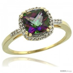 14k Yellow Gold Diamond Mystic Topaz Ring 1.5 ct Checkerboard Cut Cushion Shape 7 mm, 3/8 in wide