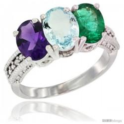 10K White Gold Natural Amethyst, Aquamarine & Emerald Ring 3-Stone Oval 7x5 mm Diamond Accent