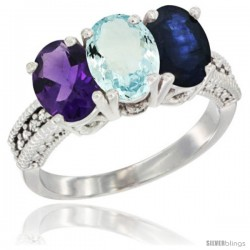 10K White Gold Natural Amethyst, Aquamarine & Blue Sapphire Ring 3-Stone Oval 7x5 mm Diamond Accent
