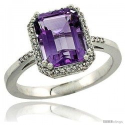 10k White Gold Diamond Amethyst Ring 2.53 ct Emerald Shape 9x7 mm, 1/2 in wide