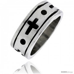 Sterling Silver Men's Southwest Design Cross Ring 5/16 in wide