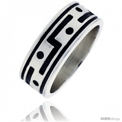 Sterling Silver Southwest Design American Indian Design Ring 5/16 in wide