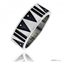 Sterling Silver Southwest Design Aztec Design Ring 5/16 in wide