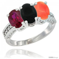 10K White Gold Natural Ruby, Black Onyx & Coral Ring 3-Stone Oval 7x5 mm Diamond Accent