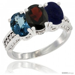 14K White Gold Natural London Blue Topaz, Garnet & Lapis Ring 3-Stone 7x5 mm Oval Diamond Accent