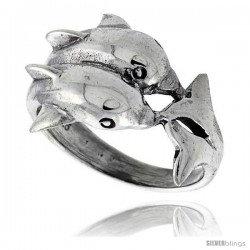 Sterling Silver Double Dolphin Polished Ring 5/8 in wide
