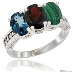 14K White Gold Natural London Blue Topaz, Garnet & Malachite Ring 3-Stone 7x5 mm Oval Diamond Accent