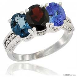 14K White Gold Natural London Blue Topaz, Garnet & Tanzanite Ring 3-Stone 7x5 mm Oval Diamond Accent