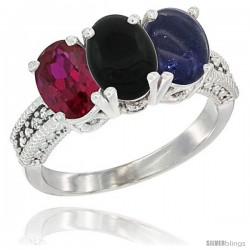 10K White Gold Natural Ruby, Black Onyx & Lapis Ring 3-Stone Oval 7x5 mm Diamond Accent