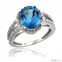 14k White Gold Diamond Halo London Blue Topaz Ring 2.85 Carat Oval Shape 11X9 mm, 7/16 in (11mm) wide