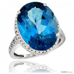 14k White Gold Diamond London Blue Topaz Ring 13.56 Carat Oval Shape 18x13 mm, 3/4 in (20mm) wide