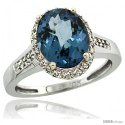 14k White Gold Diamond London Blue Topaz Ring 2.4 ct Oval Stone 10x8 mm, 1/2 in wide