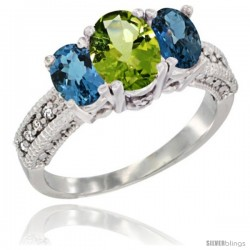 14k White Gold Ladies Oval Natural Peridot 3-Stone Ring with London Blue Topaz Sides Diamond Accent