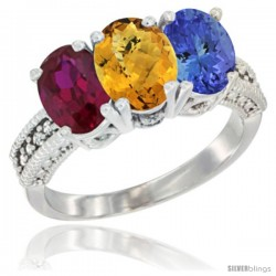 14K White Gold Natural Ruby, Whisky Quartz & Tanzanite Ring 3-Stone 7x5 mm Oval Diamond Accent