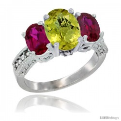 14K White Gold Ladies 3-Stone Oval Natural Lemon Quartz Ring with Ruby Sides Diamond Accent
