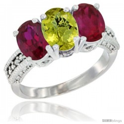 14K White Gold Natural Lemon Quartz & Ruby Sides Ring 3-Stone 7x5 mm Oval Diamond Accent