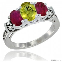 14K White Gold Natural Lemon Quartz & Ruby Ring 3-Stone Oval with Diamond Accent
