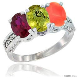 14K White Gold Natural Ruby, Lemon Quartz & Coral Ring 3-Stone 7x5 mm Oval Diamond Accent
