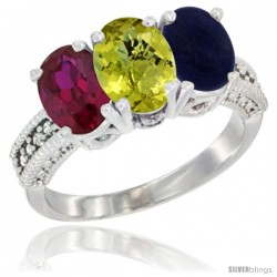 14K White Gold Natural Ruby, Lemon Quartz & Lapis Ring 3-Stone 7x5 mm Oval Diamond Accent
