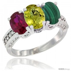 14K White Gold Natural Ruby, Lemon Quartz & Malachite Ring 3-Stone 7x5 mm Oval Diamond Accent