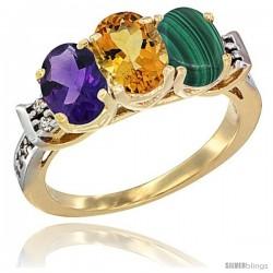 10K Yellow Gold Natural Amethyst, Citrine & Malachite Ring 3-Stone Oval 7x5 mm Diamond Accent