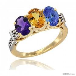 10K Yellow Gold Natural Amethyst, Citrine & Tanzanite Ring 3-Stone Oval 7x5 mm Diamond Accent