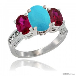 10K White Gold Ladies Natural Turquoise Oval 3 Stone Ring with Ruby Sides Diamond Accent
