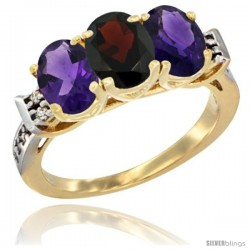10K Yellow Gold Natural Garnet & Amethyst Sides Ring 3-Stone Oval 7x5 mm Diamond Accent