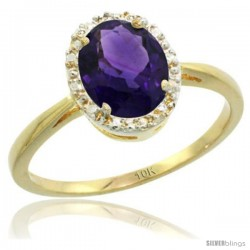 10k Yellow Gold Amethyst Diamond Halo Ring 1.17 Carat 8X6 mm Oval Shape, 1/2 in wide