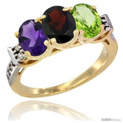 10K Yellow Gold Natural Amethyst, Garnet & Peridot Ring 3-Stone Oval 7x5 mm Diamond Accent