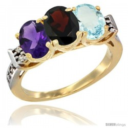 10K Yellow Gold Natural Amethyst, Garnet & Aquamarine Ring 3-Stone Oval 7x5 mm Diamond Accent