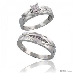 10k White Gold Diamond Engagement Rings 2-Piece Set for Men and Women 0.10 cttw Brilliant Cut, 5mm & 6mm wide -Style Ljw001em