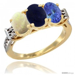 10K Yellow Gold Natural Opal, Lapis & Tanzanite Ring 3-Stone Oval 7x5 mm Diamond Accent