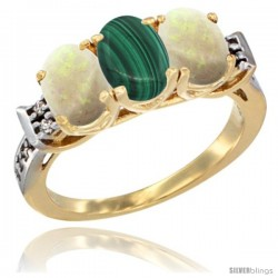 10K Yellow Gold Natural Malachite & Opal Sides Ring 3-Stone Oval 7x5 mm Diamond Accent