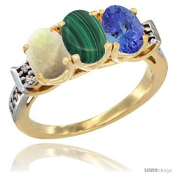 10K Yellow Gold Natural Opal, Malachite & Tanzanite Ring 3-Stone Oval 7x5 mm Diamond Accent