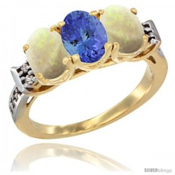 10K Yellow Gold Natural Tanzanite & Opal Sides Ring 3-Stone Oval 7x5 mm Diamond Accent