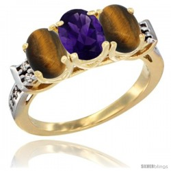 10K Yellow Gold Natural Amethyst & Tiger Eye Sides Ring 3-Stone Oval 7x5 mm Diamond Accent