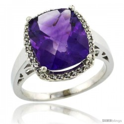10k White Gold Diamond Amethyst Ring 5.17 ct Checkerboard Cut Cushion 12x10 mm, 1/2 in wide