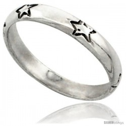 Sterling Silver Thin Stars Wedding Band Ring