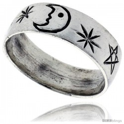 Sterling Silver Moon & Star Wedding Band Ring