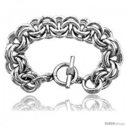 Sterling Silver Large Heavy Double Rolo Link Bracelet