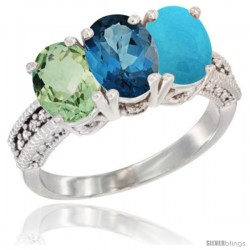 14K White Gold Natural Green Amethyst, London Blue Topaz & Turquoise Ring 3-Stone 7x5 mm Oval Diamond Accent